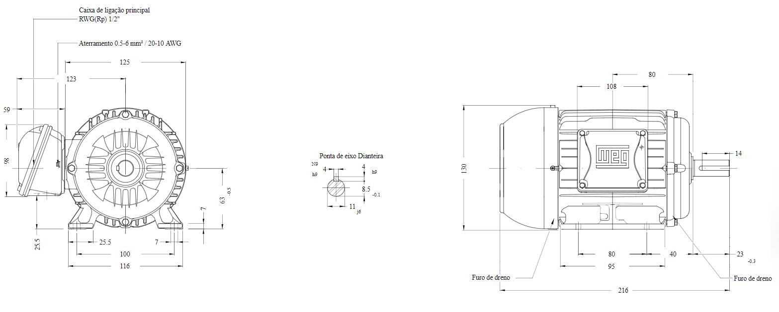MOTOR ELETRICO WEG W22 IR3 PREMIUM 0,25cv 4P TRIF.2/3V 60HZ B3D/CÇ63