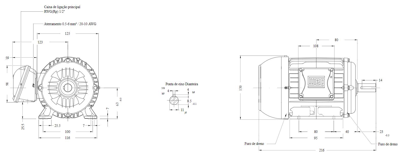 Motor elétrico Weg W22 IR3 Premium 0.33 cv 4P 63 3F 220/380 V 60 Hz IC411 - TFVE - B3D