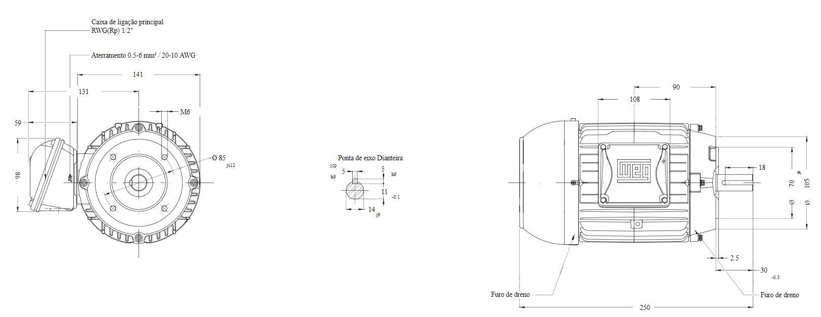 MOTOR ELETRICO WEG W22 IR3 PREMIUM 0,50CV 4P TRIF.2/3V 60Hz B14D/CÇ71