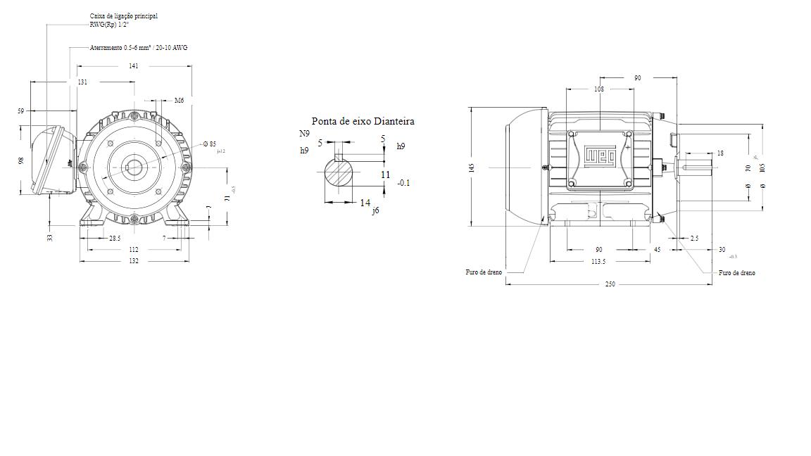 MOTOR ELETRICO WEG W22 IR3 PREMIUM 0,50CV 4P TRIF.2/3V 60Hz B34D/CÇ71