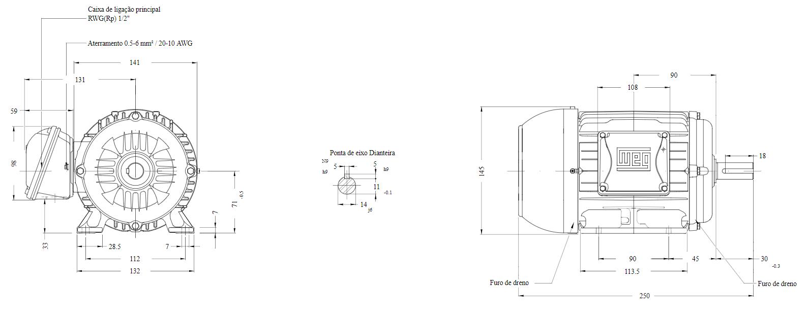 MOTOR ELETRICO WEG W22 IR3 PREMIUM 0,75CV 4P TRIF.2/3V 60HZ B3D/CÇ71