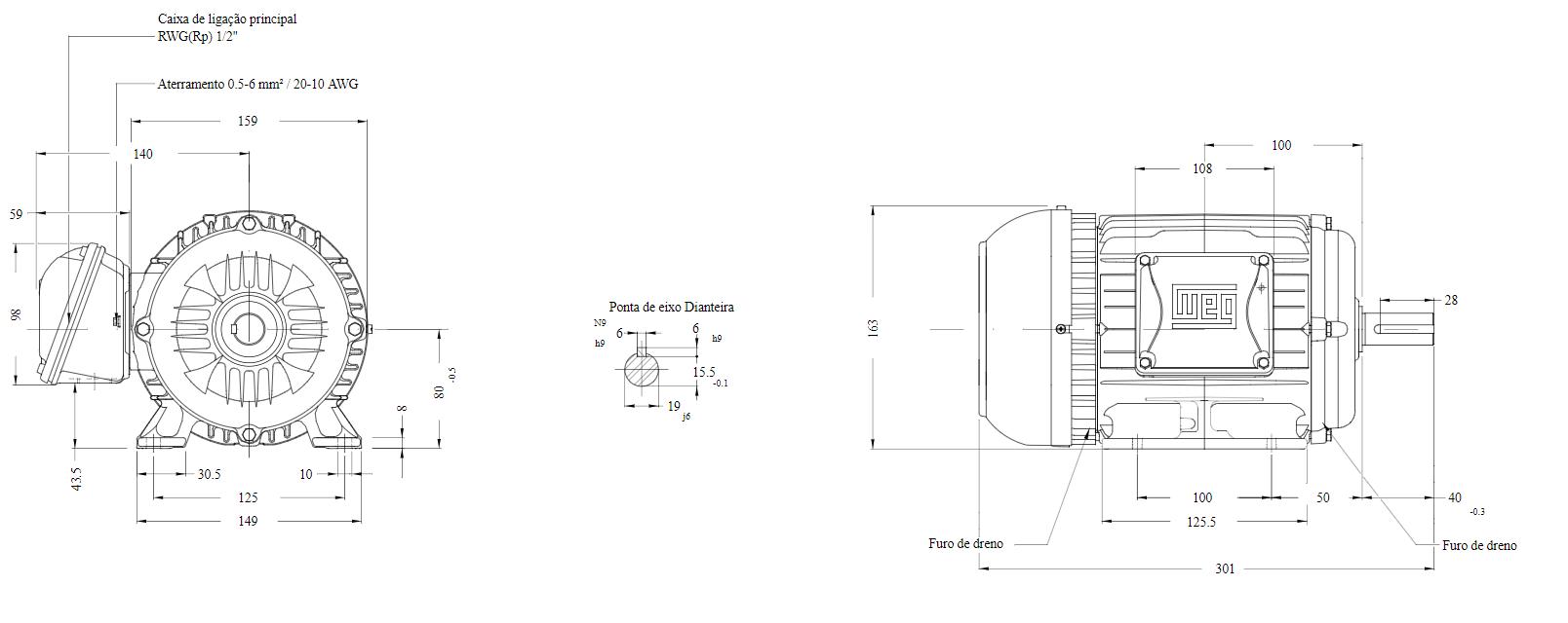 Motor elétrico Weg W22 IR3 Premium 1.5 cv 4P 80 3F 220/380 V 60 Hz IC411 - TFVE - B3D