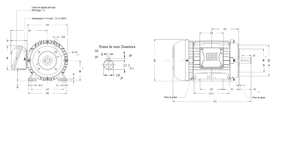 MOTOR ELETRICO WEG W22 IR3 PREMIUM 1,5CV 4P TRIF.2/3V 60HZ B34D/CÇ80