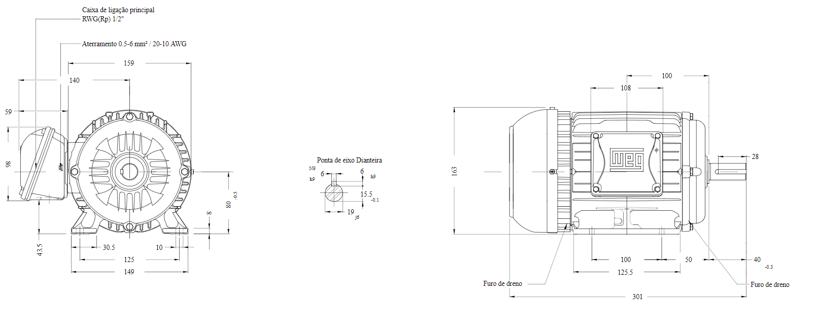 MOTOR ELETRICO WEG W22 IR3 PREMIUM 1,5CV 4P TRIF.2/3V 60HZ B3D/CÇ80