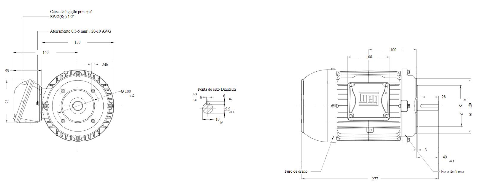 MOTOR ELETRICO WEG W22 IR3 PREMIUM 1CV 4P TRIF.2/3V 60HZ B14D/CÇ80