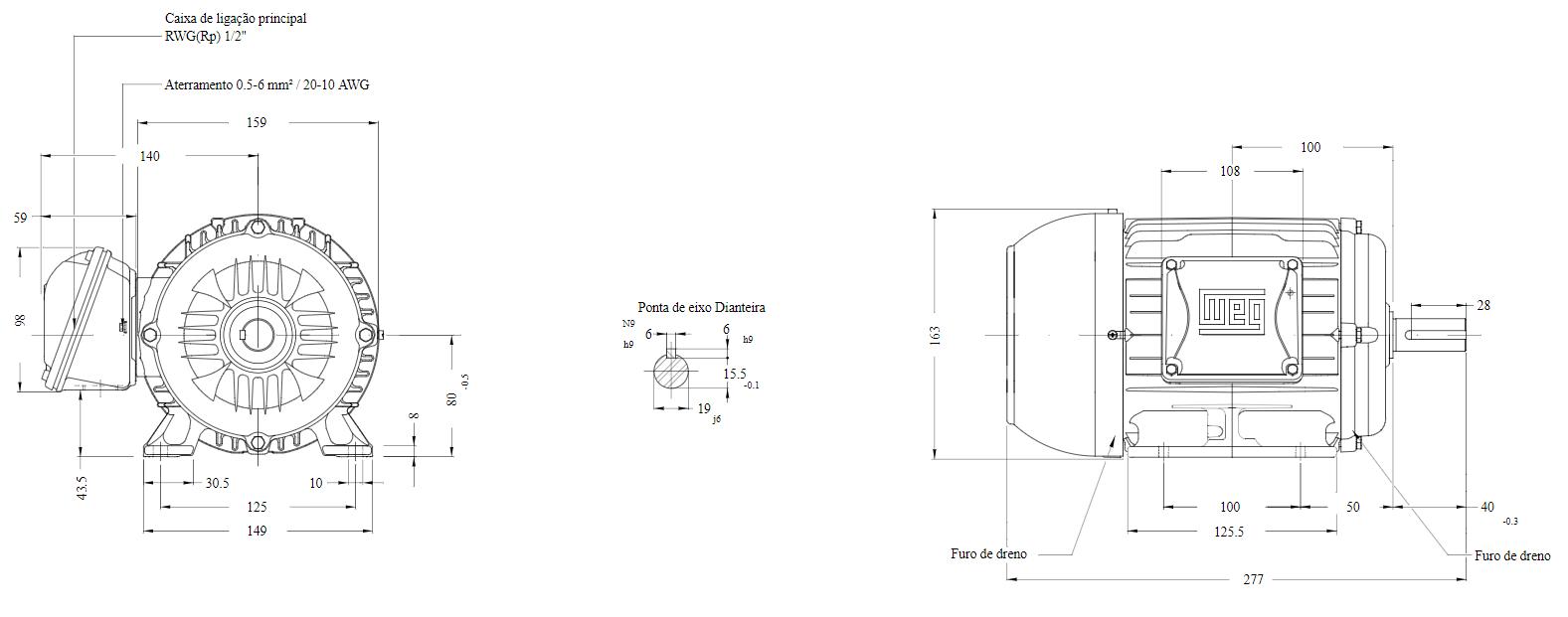MOTOR ELETRICO WEG W22 IR3 PREMIUM 1CV 4P TRIF.2/3V 60HZ B3D/CÇ80