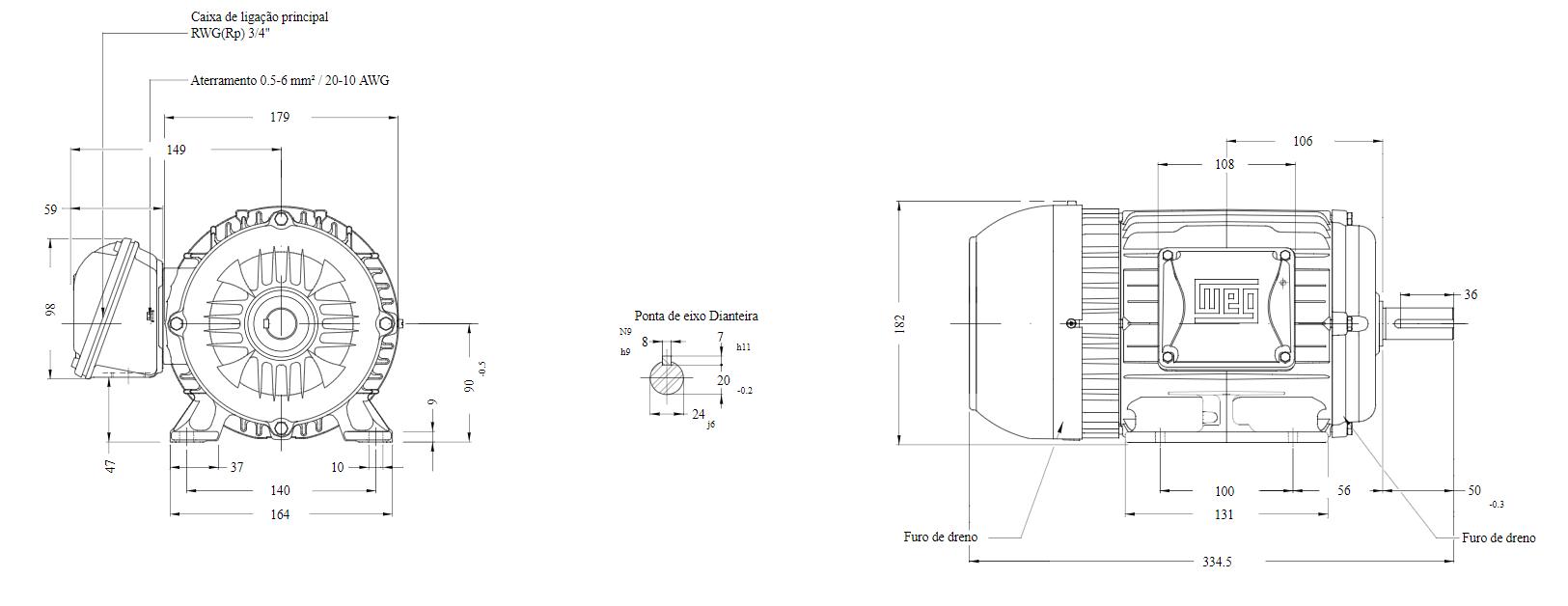Motor elétrico Weg W22 IR3 Premium 2cv 4P 90 3F 220/380 V 60 Hz IC411 - TFVE - B3D