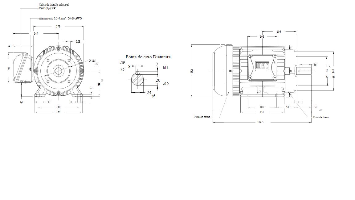 MOTOR ELETRICO WEG W22 IR3 PREMIUM 2CV 4P TRIF.2/3V 60HZ B34D/CÇ90