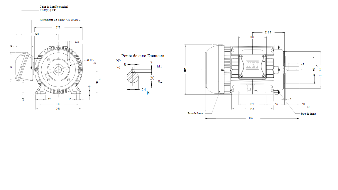 MOTOR ELETRICO WEG W22 IR3 PREMIUM 3CV 4P TRIF.2/3V 60HZ B34D/CÇ90