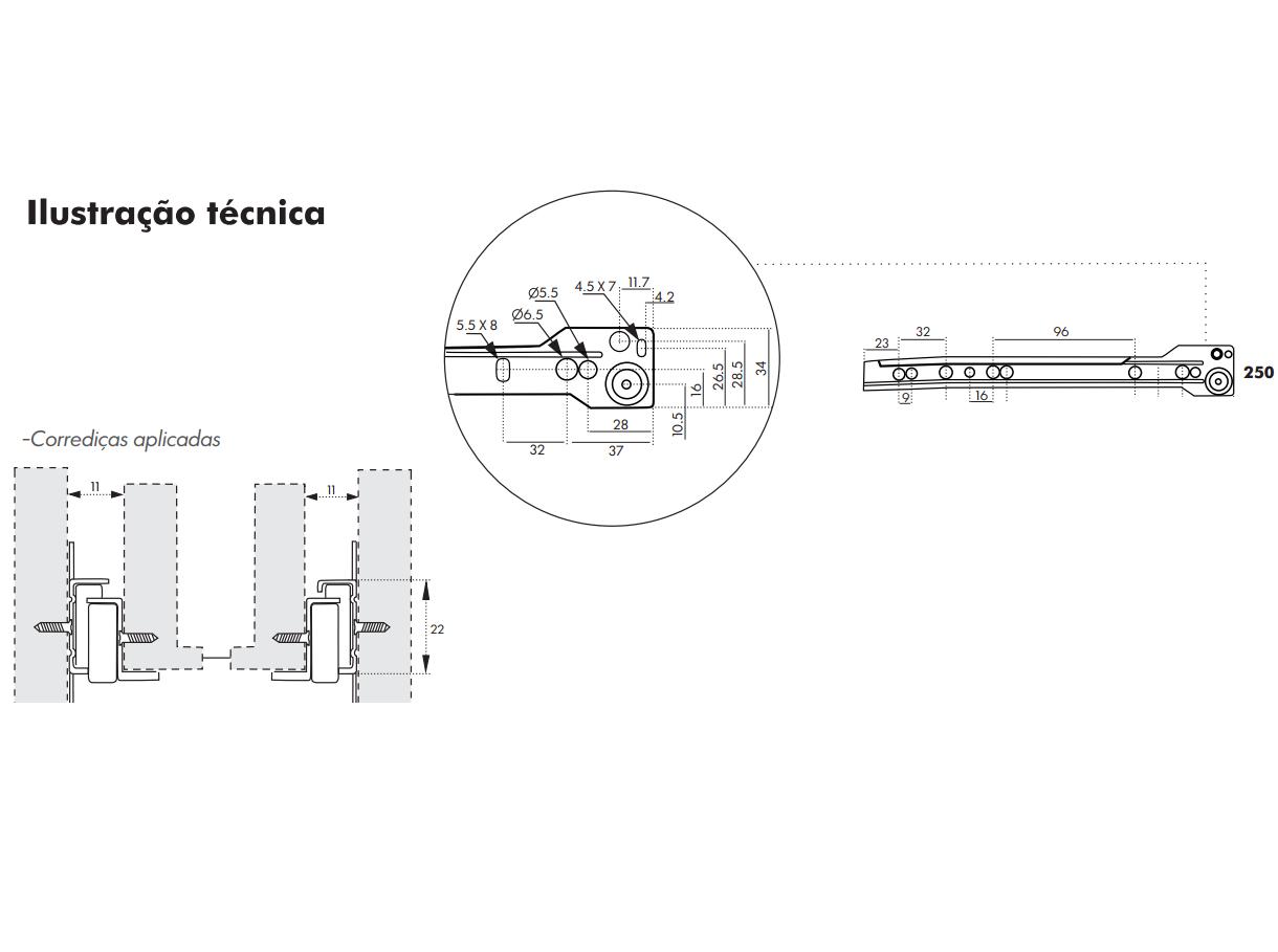 Corrediça para Gaveta 25cm - Trilho de Gaveta - Roldana de Gaveta
