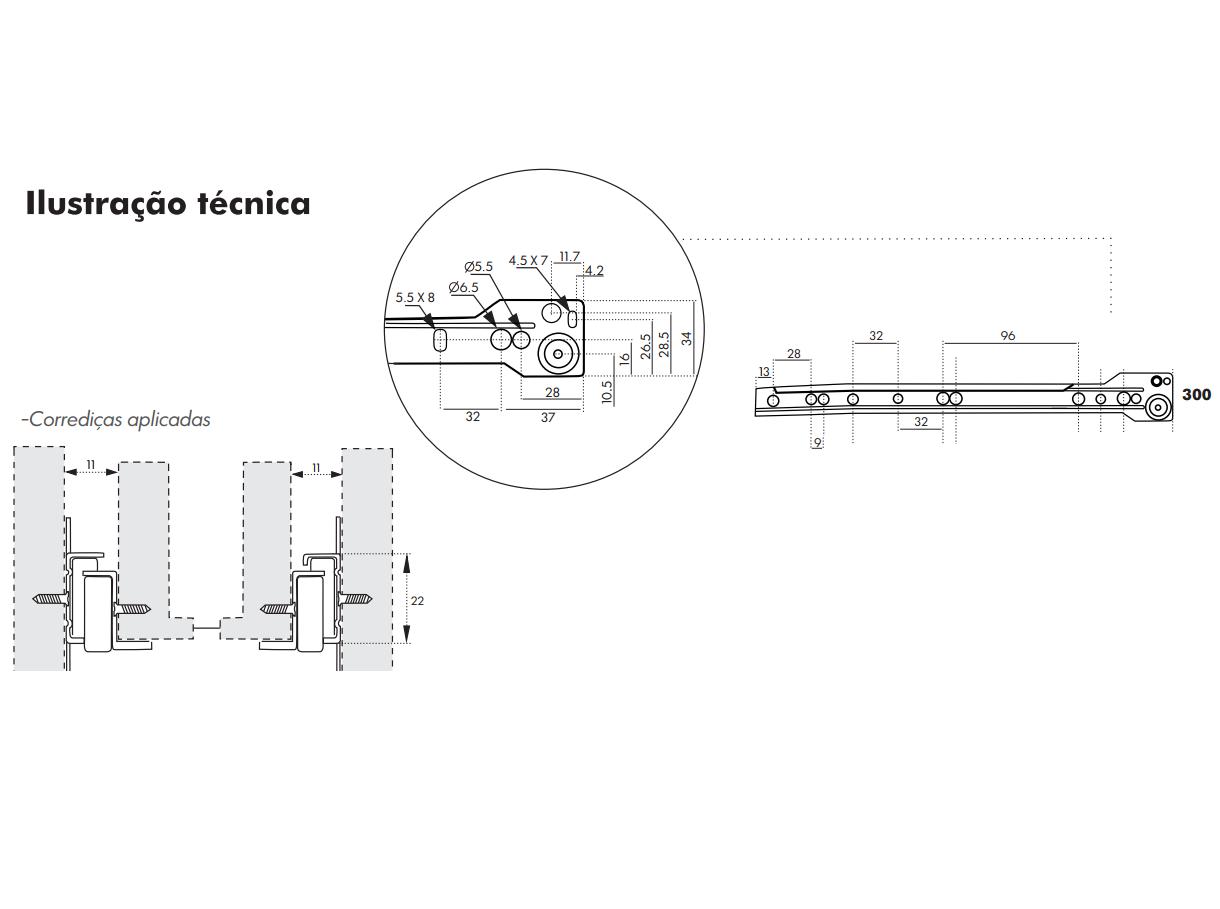 Corrediça para Gaveta 30cm - Trilho de Gaveta - Roldana de Gaveta