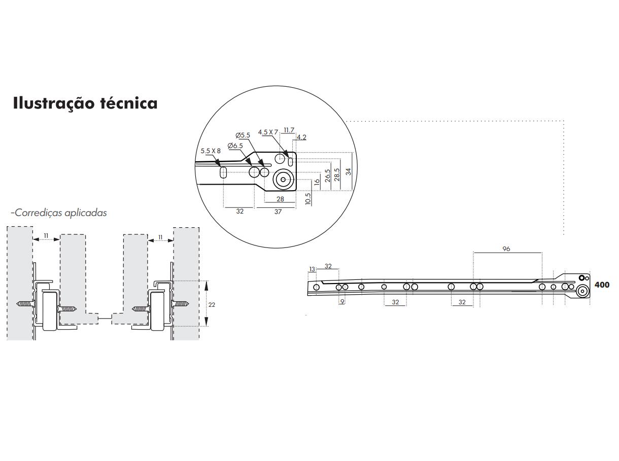 Corrediça para Gaveta 40cm - Trilho de Gaveta - Roldana de Gaveta