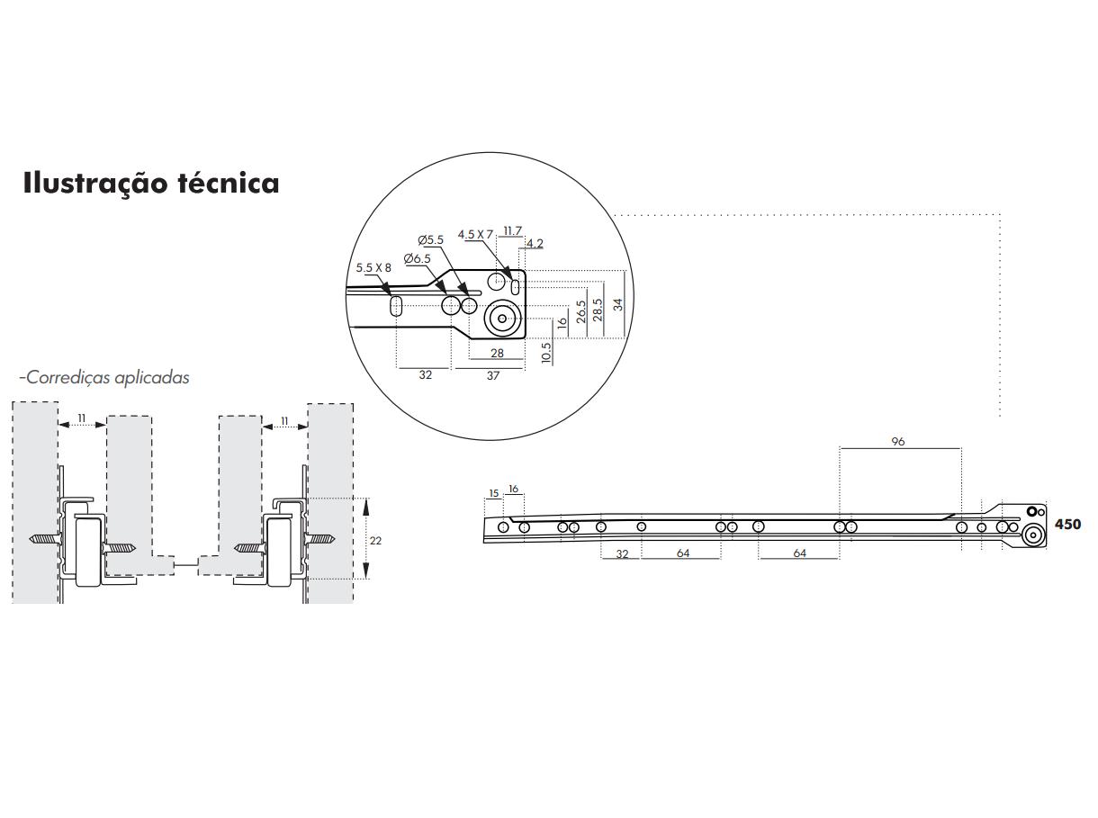 Corrediça para Gaveta 45cm - Trilho de Gaveta - Roldana de Gaveta