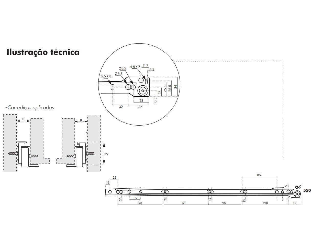 Corrediça para Gaveta 55cm - Trilho de Gaveta - Roldana de Gaveta