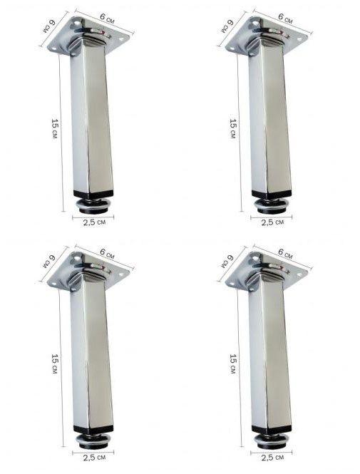 Pé para Móveis 15cm Ideal para Armário de Cozinha - Quadrado - 4 Unidades