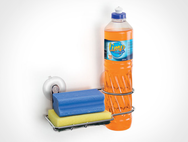 Porta Detergente e Sabão de Parede com Ventosas - Arthi