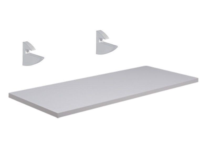 Prateleira 100X25 Branca com Suporte Plástico Branco