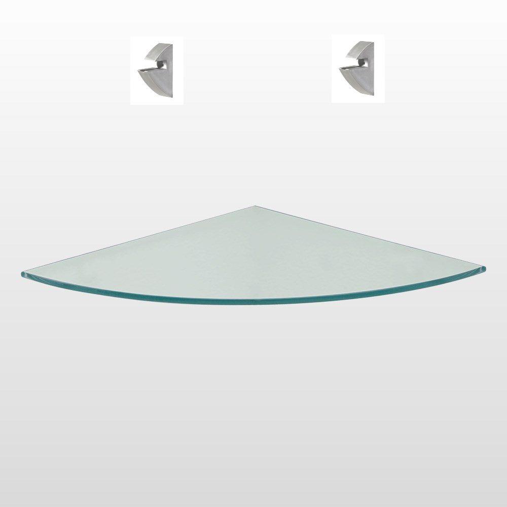 Prateleira de Vidro de Canto 25cm x 25cm com Suporte Cromado