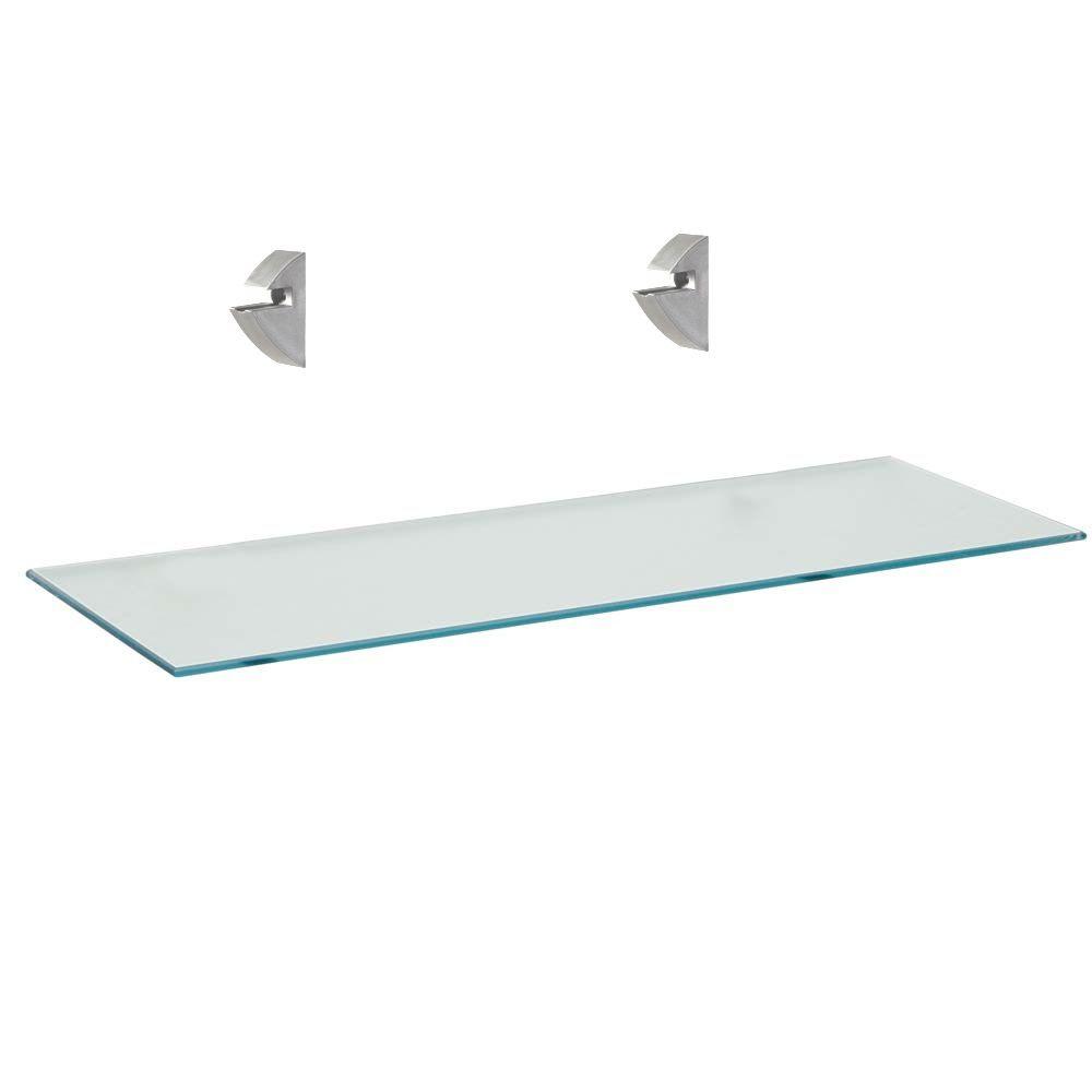 Prateleira de Vidro Reta 10cm x 40cm com Suporte Cromado