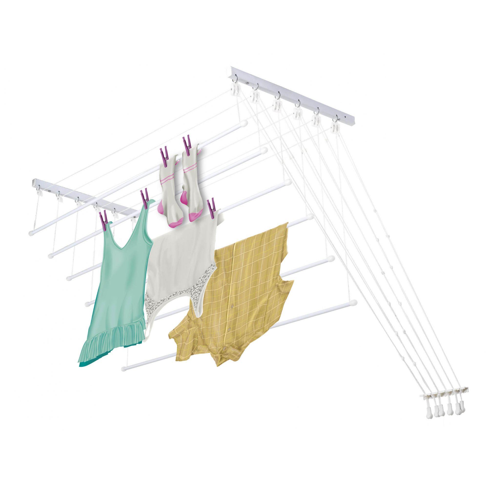 Varal Prático Secalux -Varal para Apartamento Teto ou Parede  - 1,2metros x 56cm