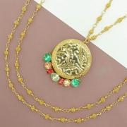 Colar relicário dourado com pedras coloridas