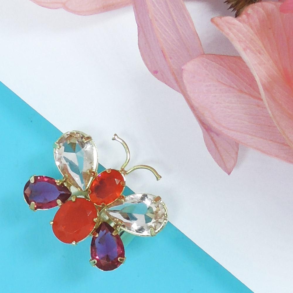 Anel de borboleta em pedras coloridas, família revoada