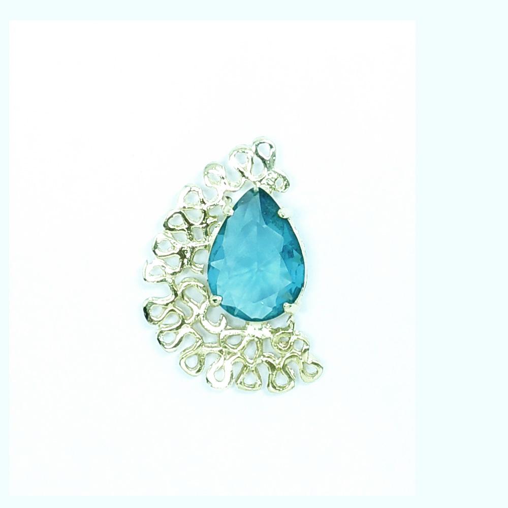 Anel feminino dourado com pedra azul, família ninho