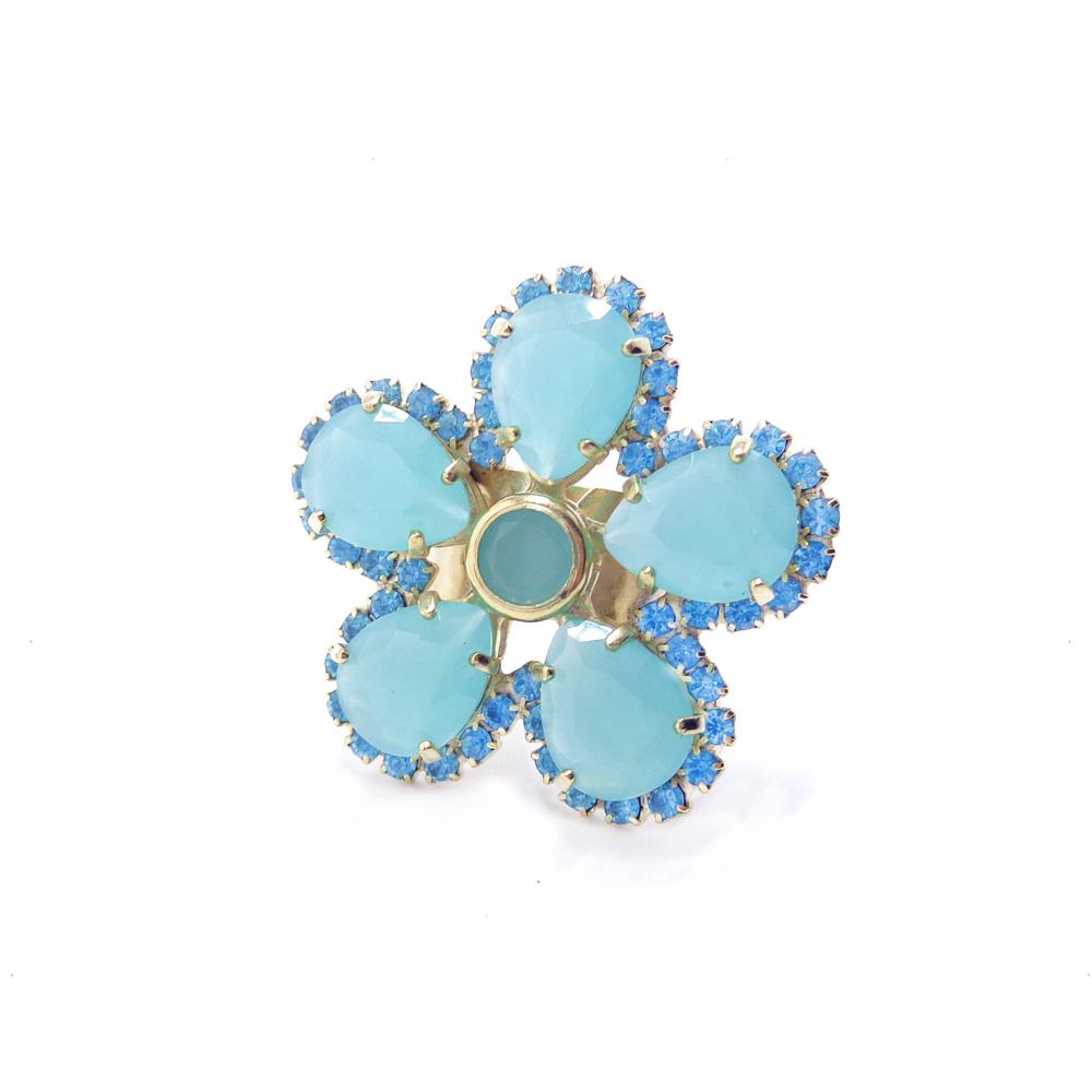 anel flor média com pedra e strass, coleção germinar