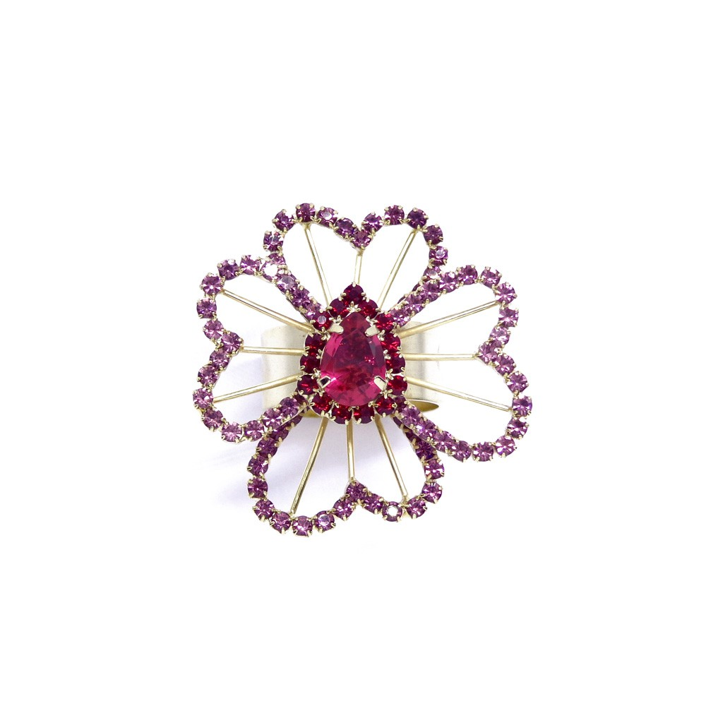 Anel flor pedra, família céu de borboletas