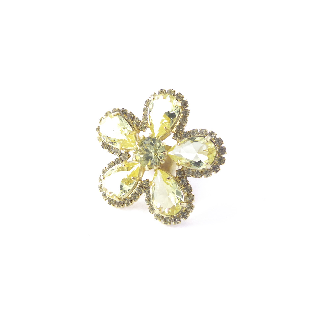 Anel flor pedra lapidada e strass, coleção germinar
