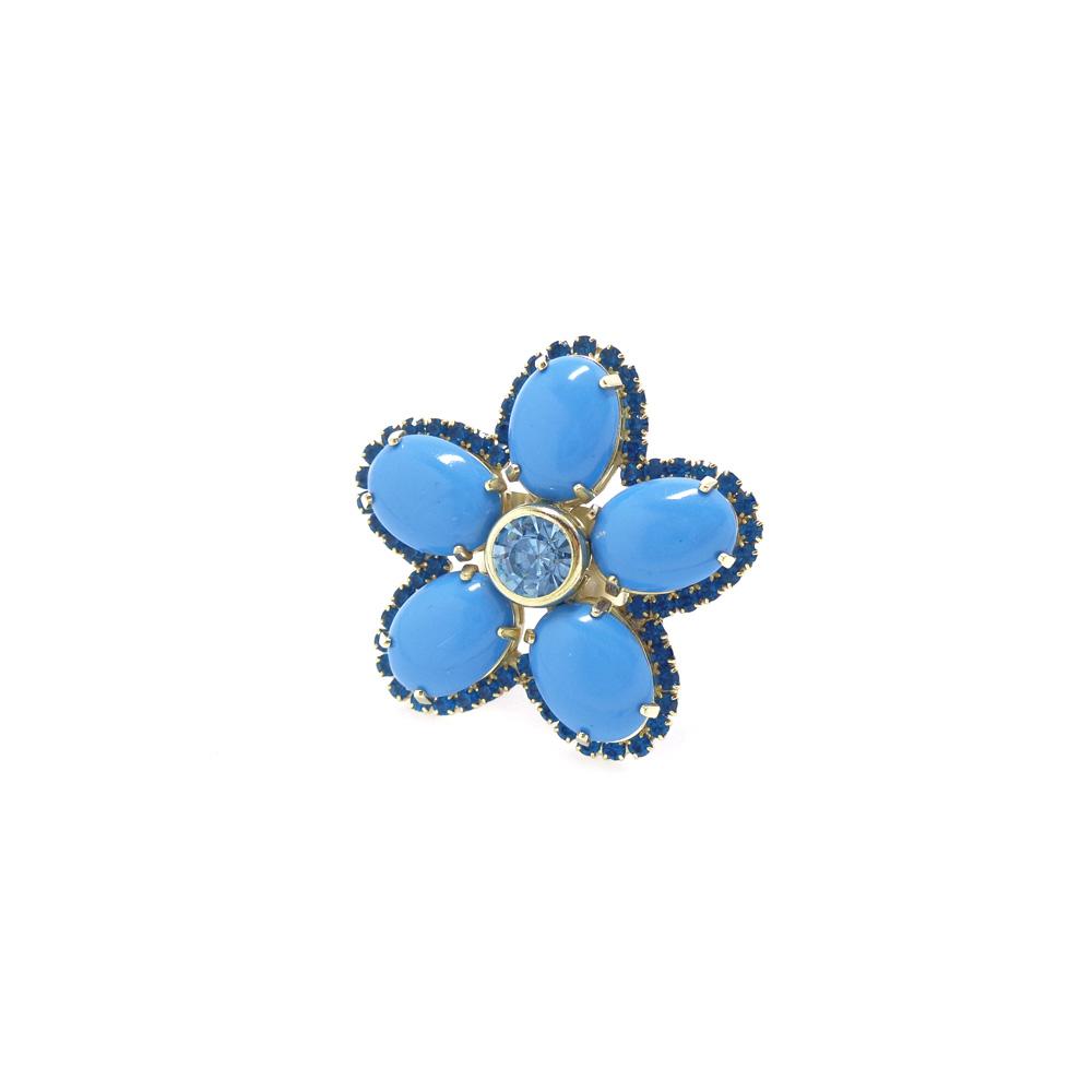 Anel flor strass e resina, coleção germinar