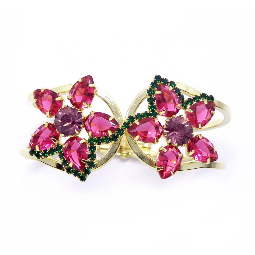 Bracelete em flor e pedras, família miosotis
