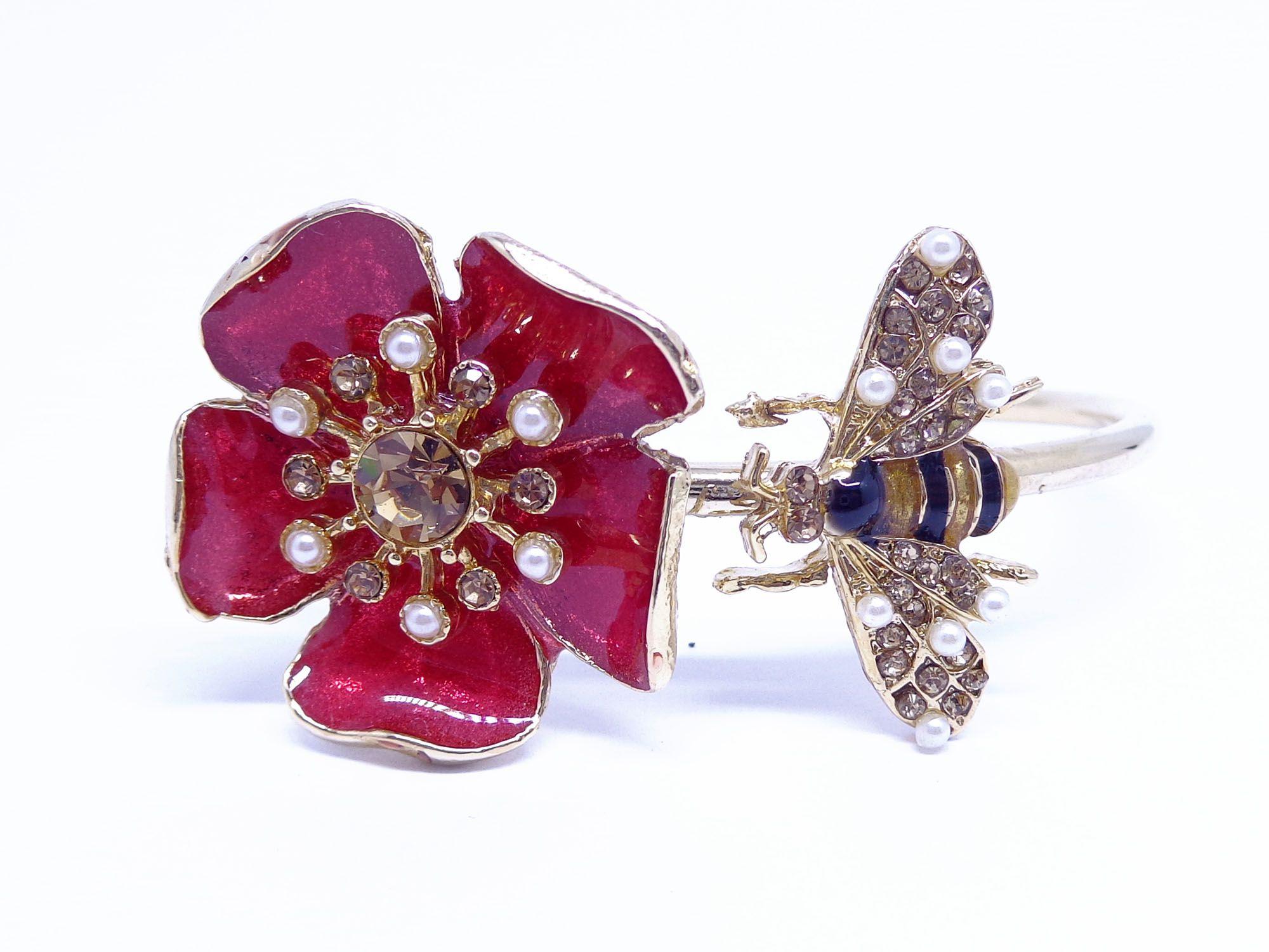 Bracelete flor vitrificada, família clássica