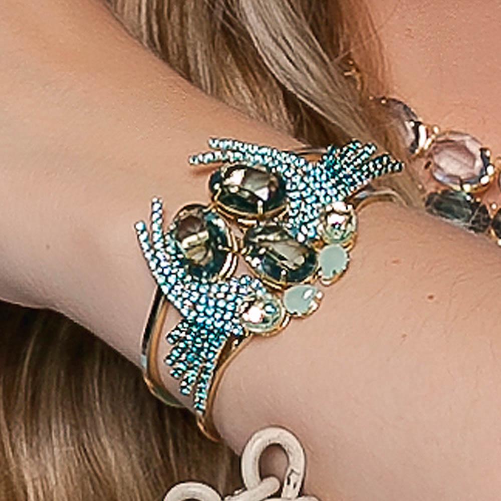 Bracelete pássaro em pedra azul, linha revoada