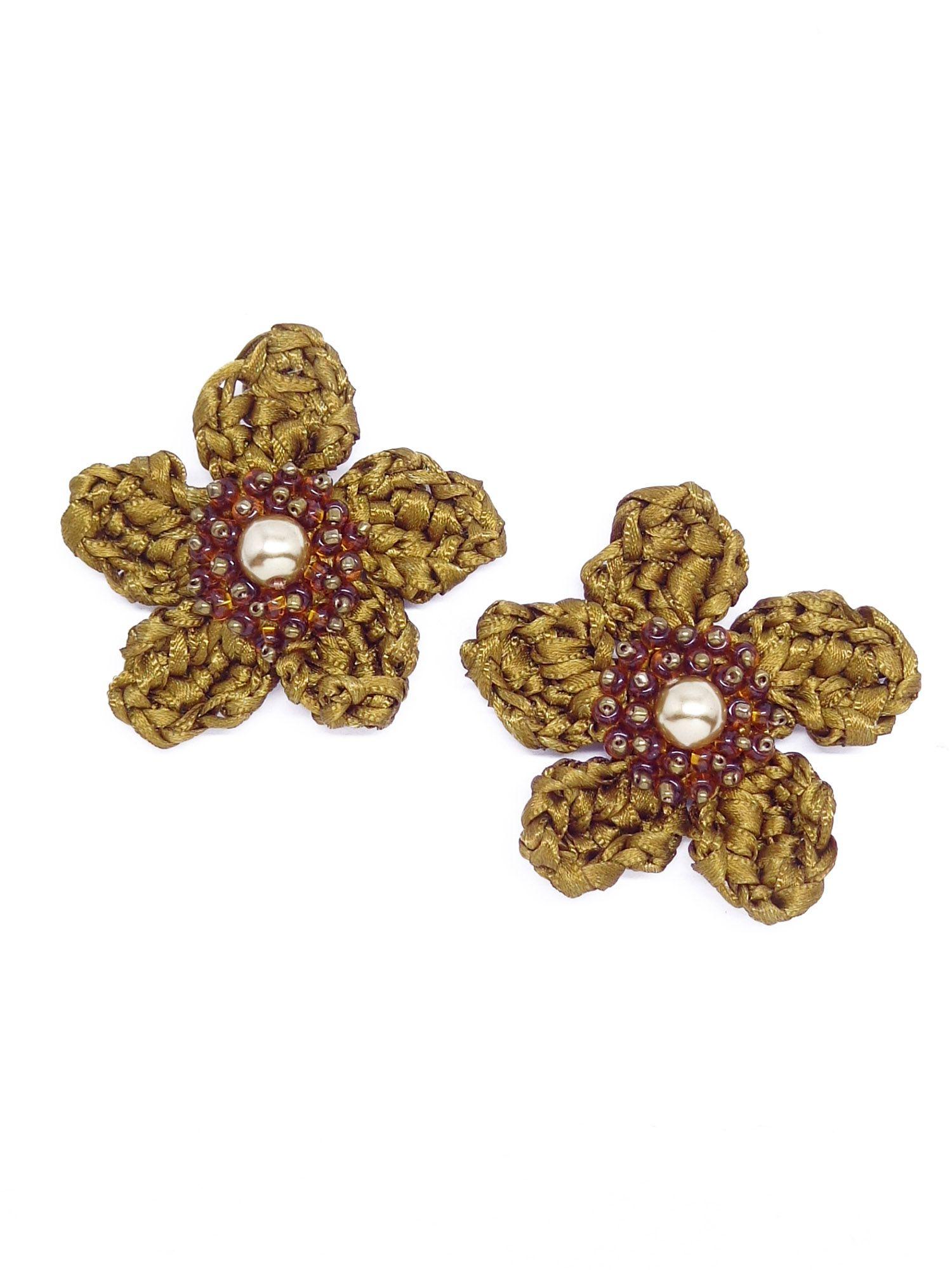 Brinco flor crochê de fita, família essenciais