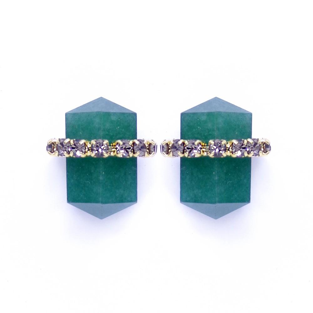 Brinco pedra natural quartzo verde,familia energia