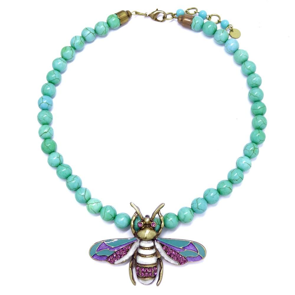 Colar abelha turquesa verde natural, linha Resort