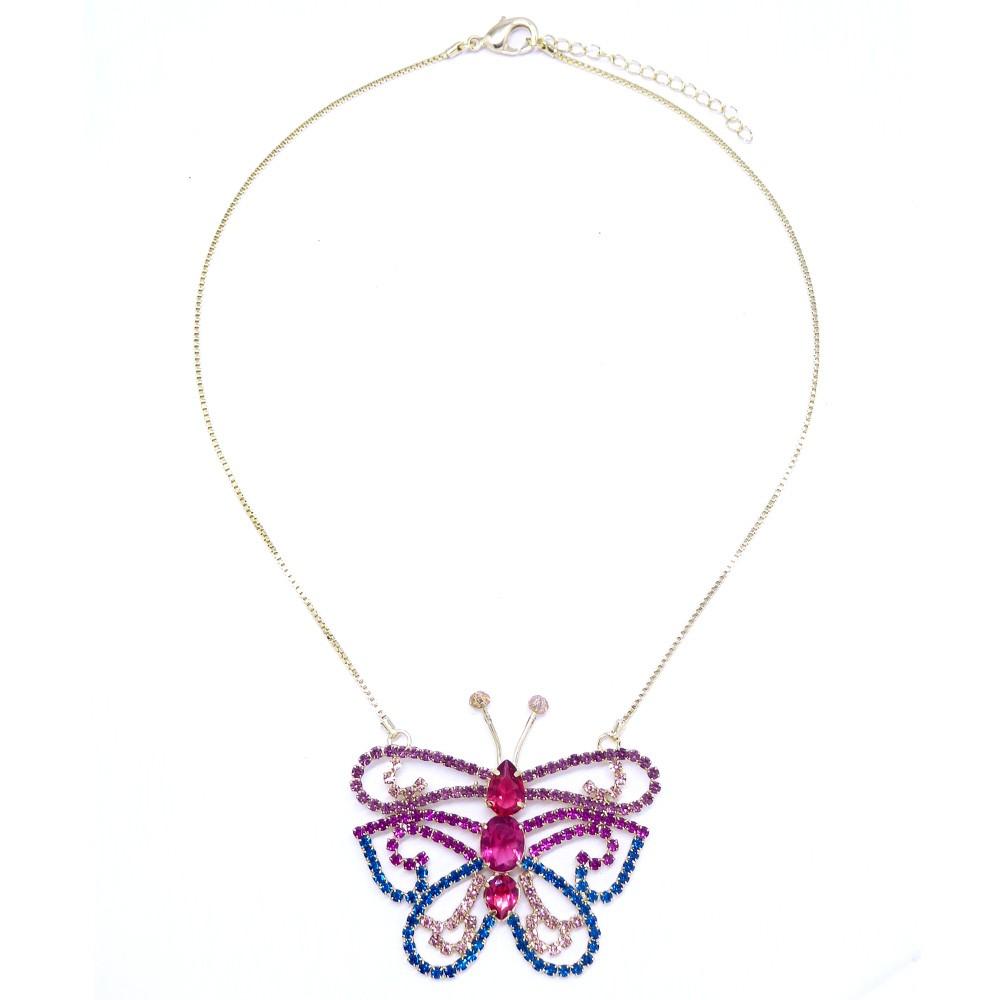Colar borboleta pedras e strass, linha borboleta verão