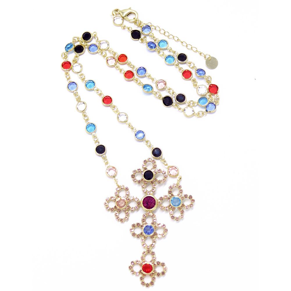 Colar de cruz colorido, família sacra