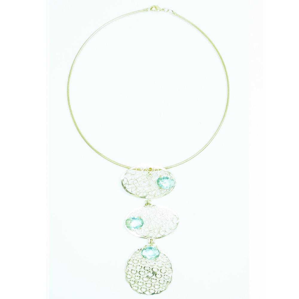 Colar feminino dourado com pedra azul, família ninho
