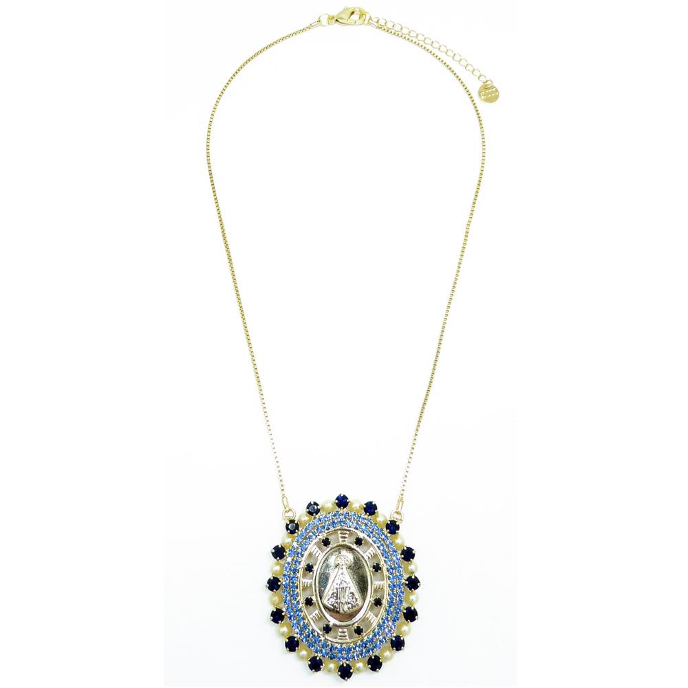 Pingente medalha Nossa Senhora Aparecida em cristal e perola, família sacra