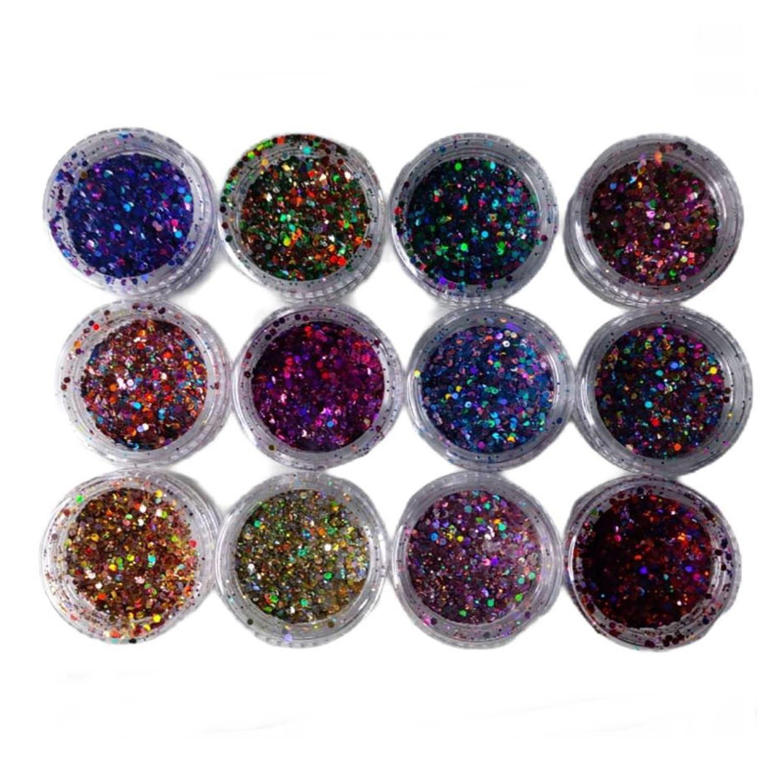 Kit 12 Glitter Com Purpurina Metalizado