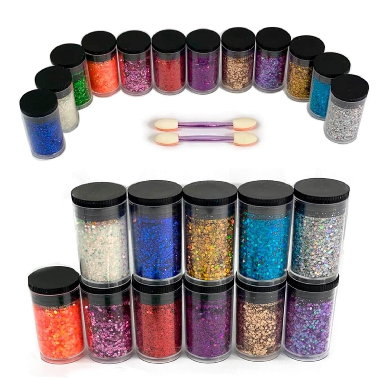 Kit 12 Glitter Purpurina Potinho Com Aplicador