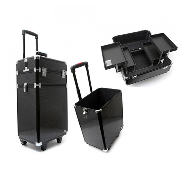Maleta Profissional Para Maquiagens E Acessórios Com Carrinho - Ruby´s - Preta FS - 1204X