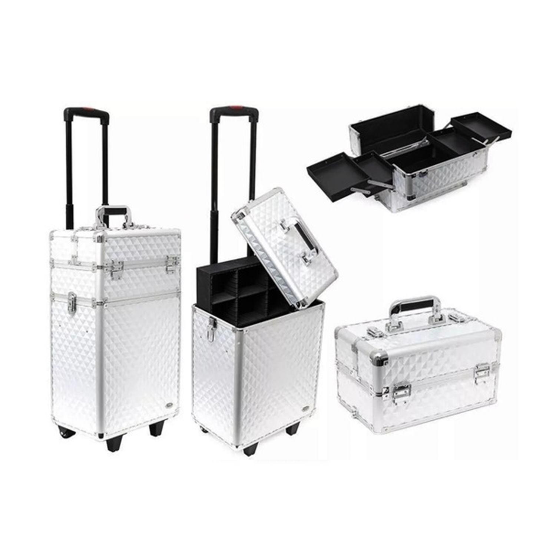 Maleta Profissional Para Maquiagens e Acessórios com Carrinho Silver - Ruby-s