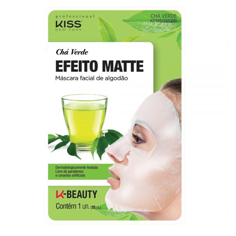 Máscara Facial de Algodão Chá Verde - Kiss New York