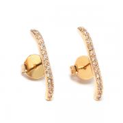 Ear Hook Zircônias Dourado