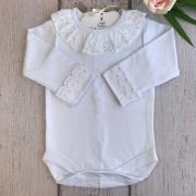 Body punho e gola bordado inglês pérolas - M (3-6 meses)