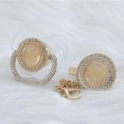 Chupeta Transparente Luxo + prendedor Dourada (Personalizado Nome)