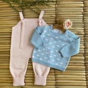 Conjunto Jardineira + Casaco  Corações - Rosa/Azul